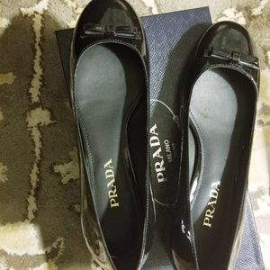 Prada patent leather low chucky heels